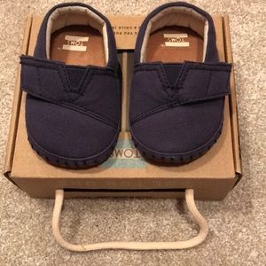 Toms Navy Canvas Baby Shoes